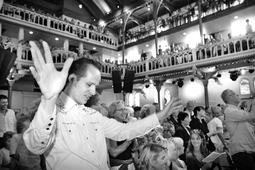 Elvis-kerkdienst. Zondag vindt een pop-kerkdienst plaats in Paradiso.  (Johanne Abeling)