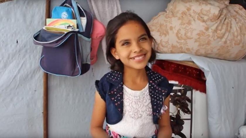 Hiba uit Syrië wil niet meer vluchten.  (unicef / youtube)