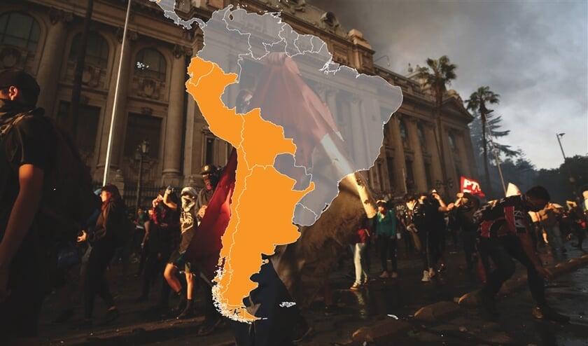 In deze landen laaiden de afgelopen tijd nieuwe protesten op. In Venezuela en Nicaragua is het al langer onrustig.  (epa / Alberto Valdes)