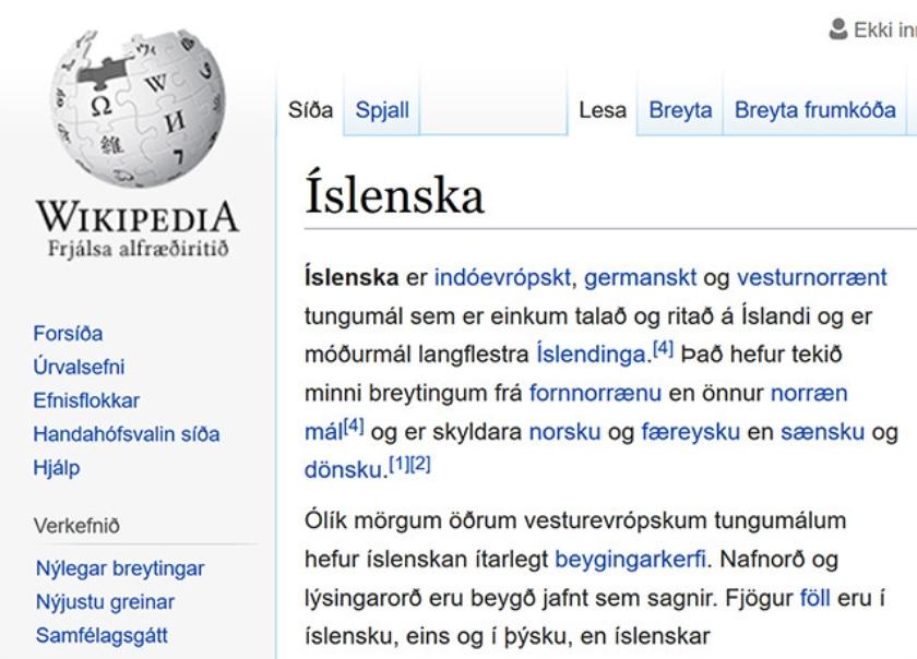 Wikipedia-website in en over het IJslands.  (nd)