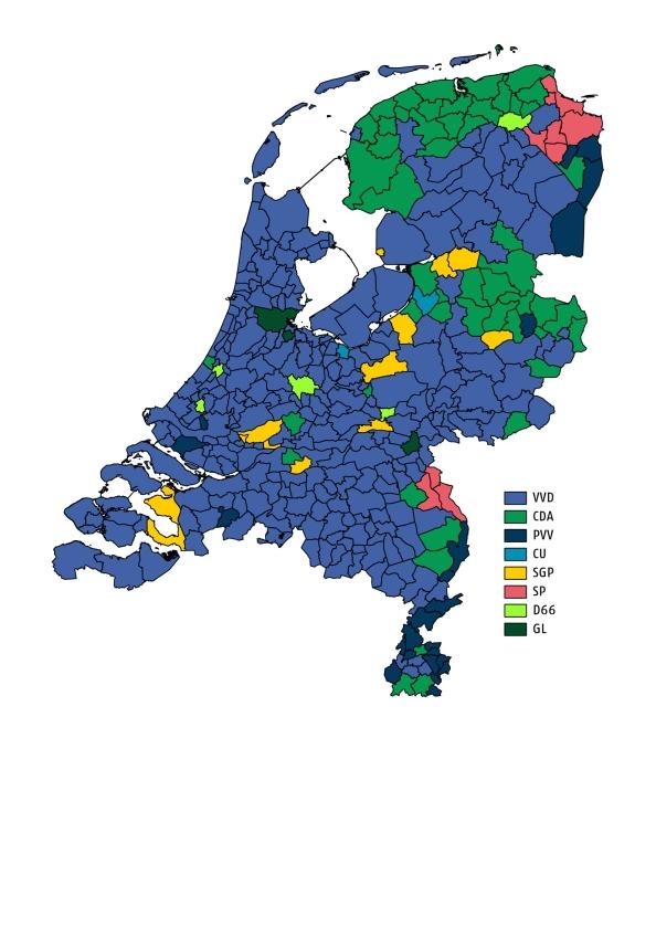Donderdagmiddag waren de stemmen in alle 388 gemeenten in Nederland geteld.  In verreweg de meeste gemeenten werd de VVD de grootste, blijkt uit de kaart hierboven   (kaarten en tekst Sjoerd Mouissie en Aaldert van Soest)