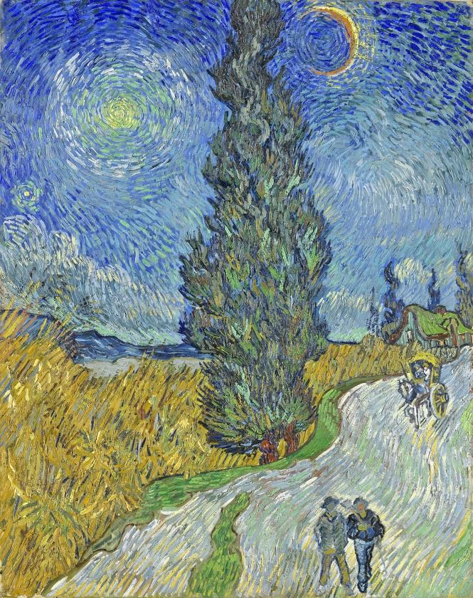 Het kunstwerk 'Landweg in de Provence bij nacht' van Vincent van Gogh. Het knalgeel van de schilder wordt langzaam bruin doordat de kleur afbreekt.   (collectie kröller-müller museum, otterlo)