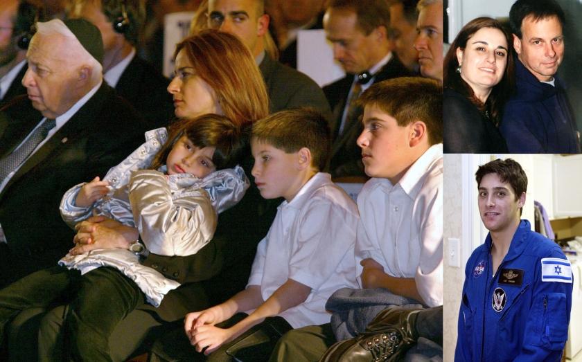 Rona Ramon, met drie van haar kinderen, bij de herdenking voor haar man Ilan in 2003 (naast haar zit toenmalig Israëlisch premier Ariel Sharon). Rechtsboven: Rona en Ilan vlak voor zijn ruimtereis. Onder: hun zoon Asaf.  (afp)