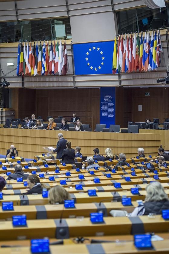 De plenaire zaal van het Europees Parlement in Brussel.   (anp / Jonas Roosens)