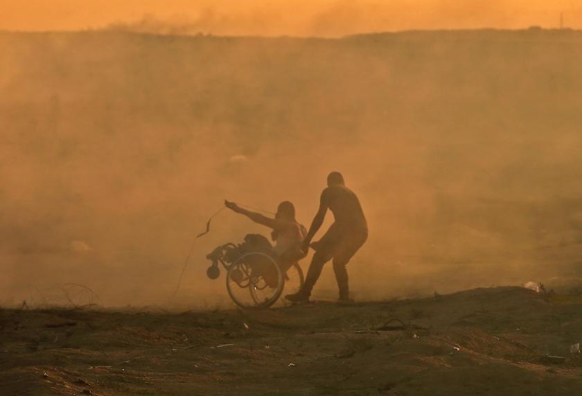 Protest in Gaza, vanuit een rolstoel, tegen Israël.  (afp / Mahmud Hams)