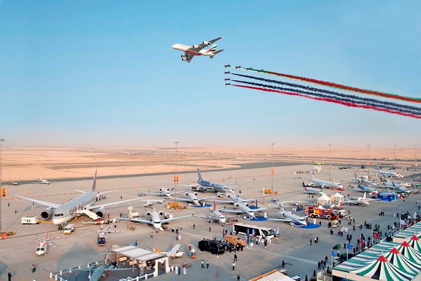 De Dubai Airshow ging dit weekend van start. Het aantal orders van twee jaar geleden (foto) wordt deze keer bij lange na niet gehaald.  (ap en Dubai Airshow)