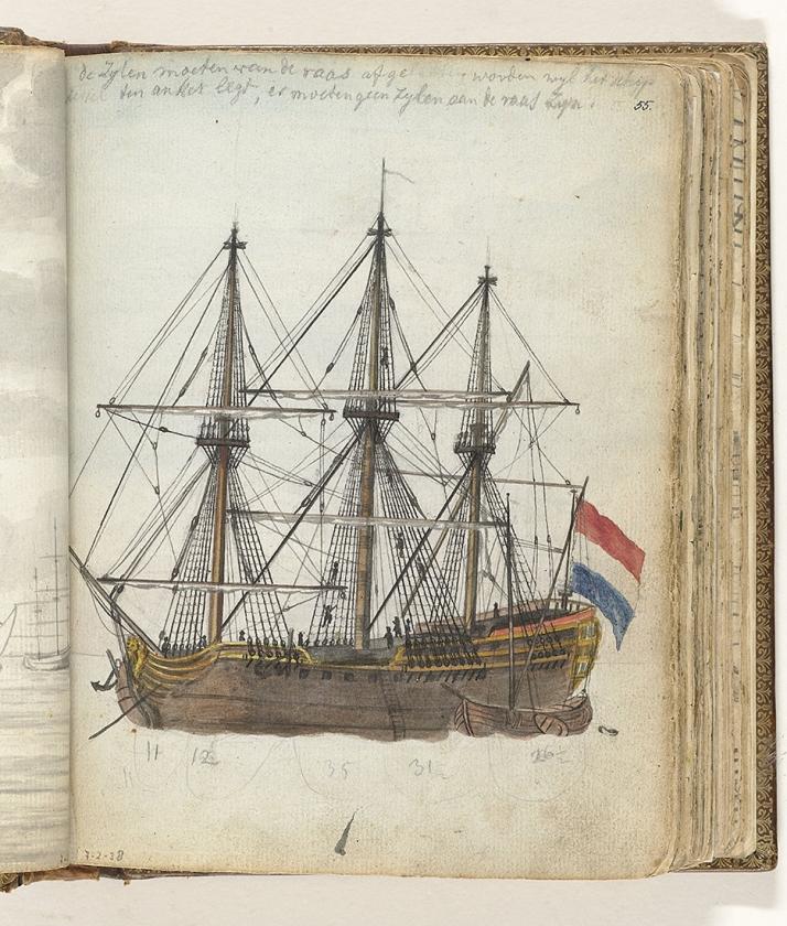 Tekening uit 1808 van een VOC-schip.   (rijksmuseum)