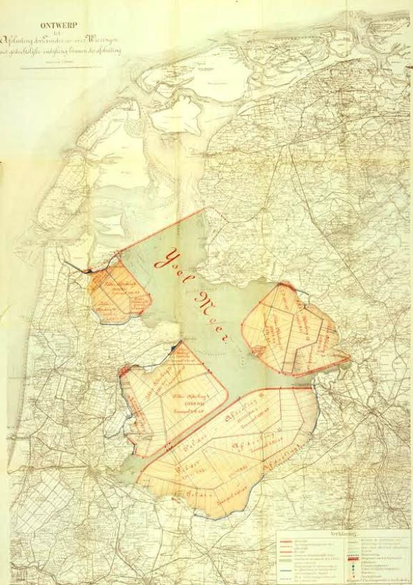 De spoorlijn over de Afsluitdijk op de tekening van ingenieur Cornelis Lely.  (ns)