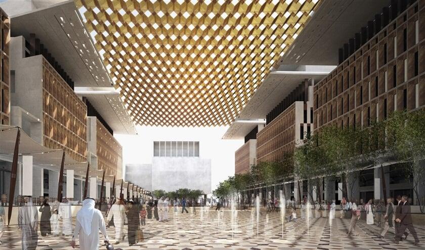Artistieke impressie van het Barahat Msheireb-plein in Doha, met watergekoelde tegels, is het middelpunt van de nieuwe stadswijk Msheireb Downtown Doha.  (wikimedia)