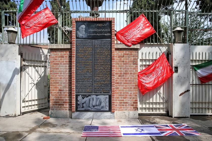 De voormalige Amerikaanse ambassade in Teheran.  (ap / Ebrahim Noroozi)