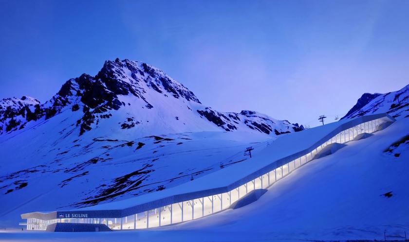 Een artistieke impressie van hoe het eruit zou kunnen zien in de bergen boven Tignes.
