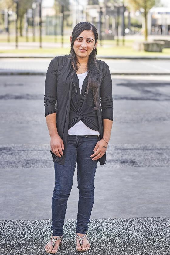 Farida Khalaf gaat voor het eerst op de foto sinds haar ontsnapping.   (Guus Dubbelman)