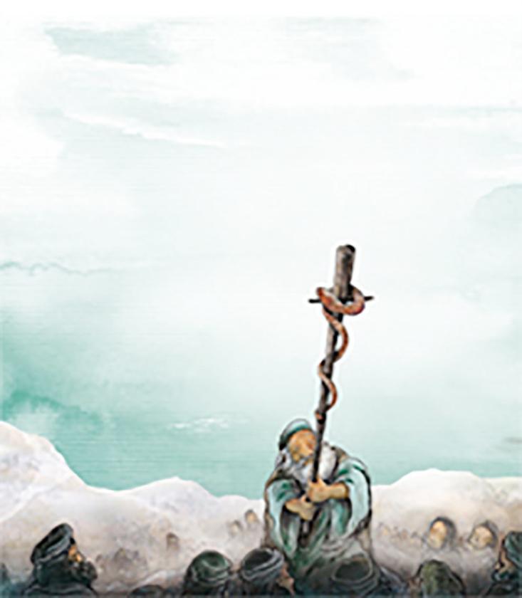 Illustratie van Mozes en de slang.   (nd en uit besproken boek)