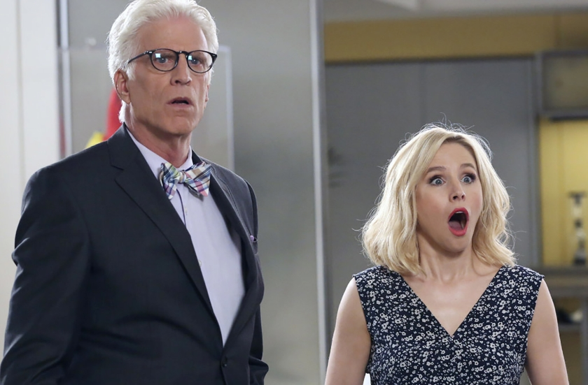 Eleanor Shellstrop (rechts) is met stomheid geslagen als ze naar The Good Place mag.  (nbc/netflix)