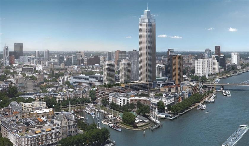 Een impressie van de Zalmhaventoren. De toren aan de voet van de Erasmusbrug wordt 215 meter hoog en wordt in 2022 opgeleverd.  (dam & partners architecten)