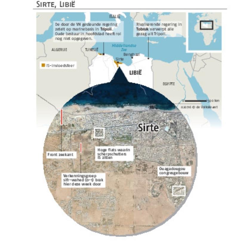 Sirte – overdag in oorlog – wordt 's nachts een monster van angst   (Jeroen Oerlemans)