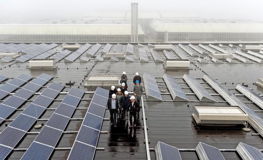 Zonnepanelen op het dak van de RAI in Amsterdam.  (anp)