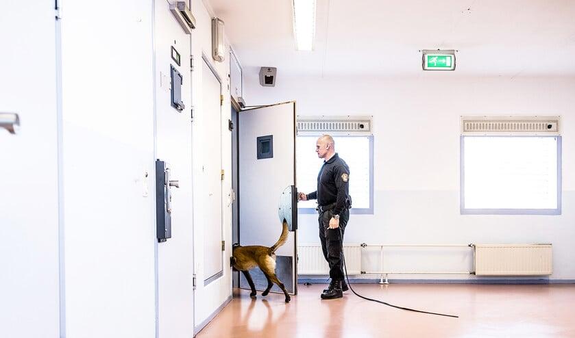 Met begeleider Mario in de penitentiaire inrichting in Zwaag, op zoek naar telefoons.  (Freek van den Bergh)