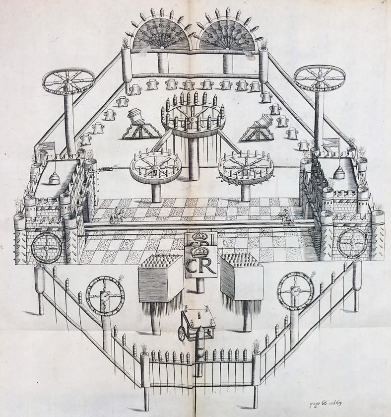 Illustratie uit Pyrotechnia van John Babington, vertaald door Daniel Manlyn, 1635.  (illustratie uit 'Pyrotechnia')