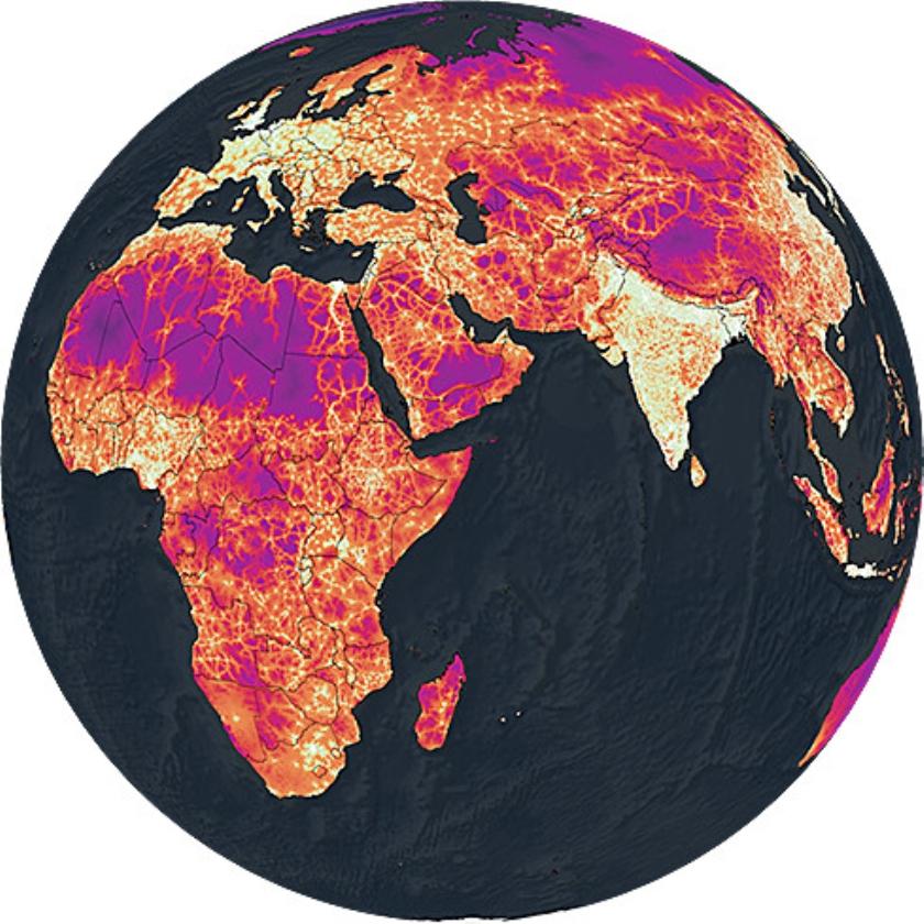 Een globale kaart ter illustratie van de ruimtelijke ongelijkheden van bereikbaarheid naar steden. Hoe paarser en donkerder de kleur, hoe langer de reistijd. In het Westen en in India is de reistijd relatief kort.   (the malaria atlas project, university of oxford)