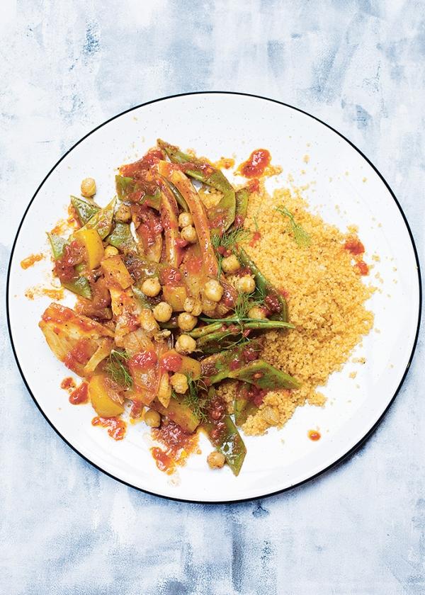 Recept: Harissacouscous met venkel en snijbonen   (uit besproken boek)