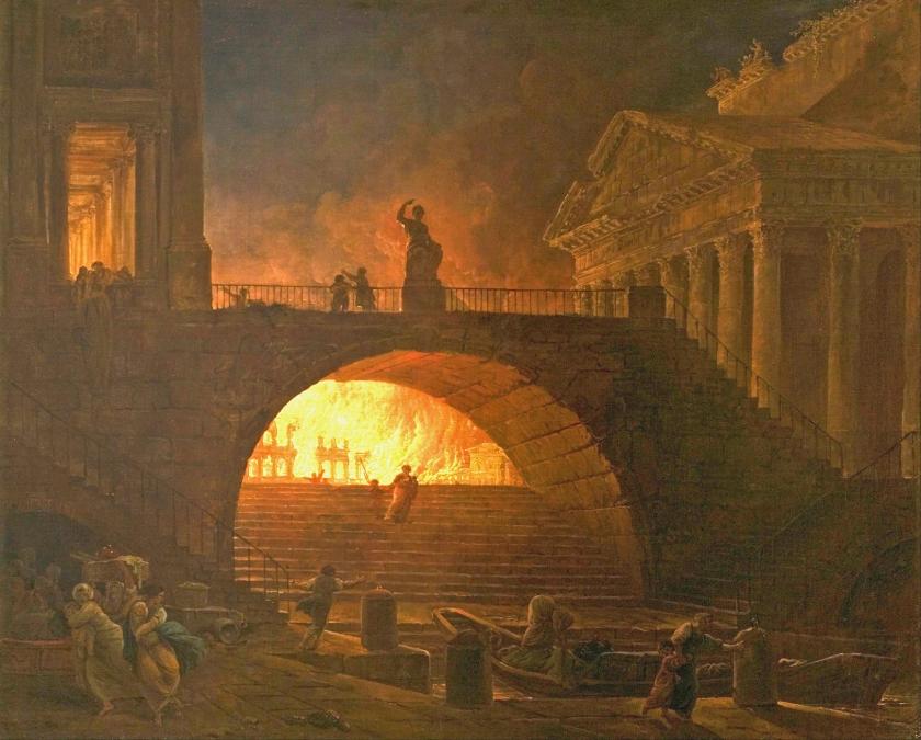 Schilderij van Hubert Robert (1733-1808), 'De grote brand van Rome'.  (musee des beaux-arts / Andre Malraux)