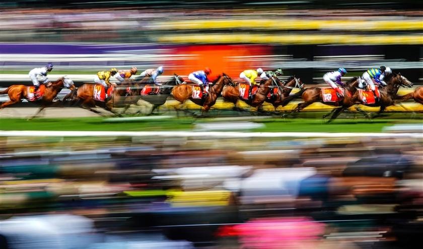 Deelnemers aan de Melbourne Cup Day, het bekendste evenement op het gebied van paardenraces in Australië, strijden om de winst.  Het evenement is een jaarlijkse feestdag in de Australische staat Victoria  (epa / Scott Barbour)
