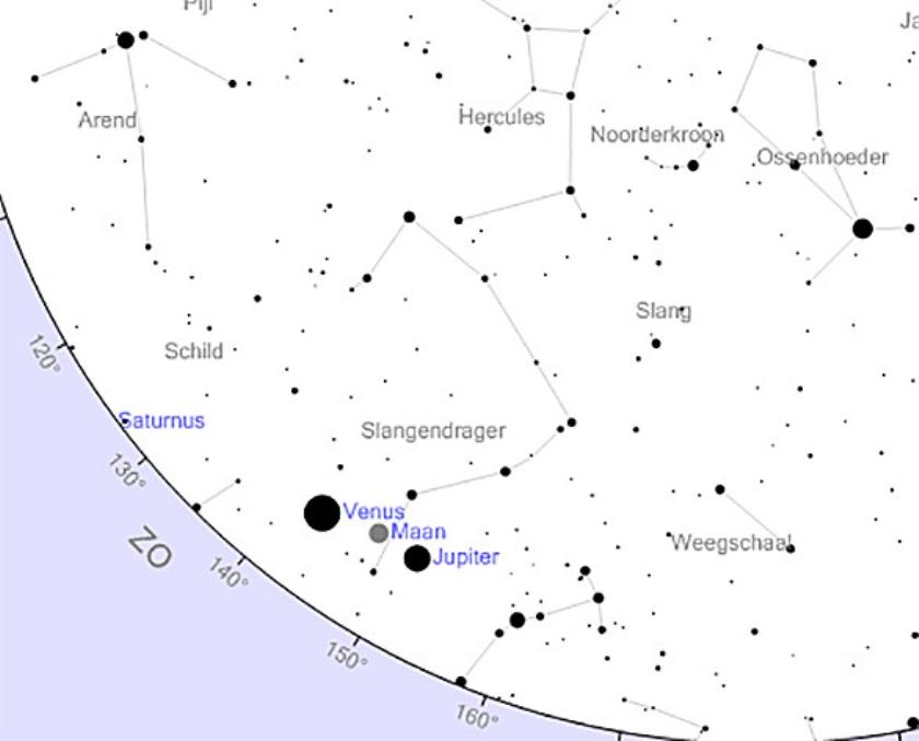 De zuidoostelijke sterrenhemel van 31 januari, rond 7 uur. De maansikkel staat tussen de twee heldere planeten Venus en Jupiter.  (www.heavens-above.com)