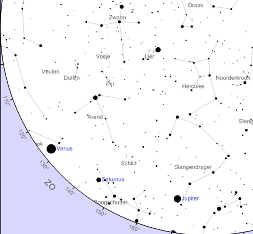 De zuidoostelijke sterrenhemel van morgenochtend, 6.30 uur. De planeten Venus, Saturnus en Jupiter staan op een rij.  (www.heavens-above.com)