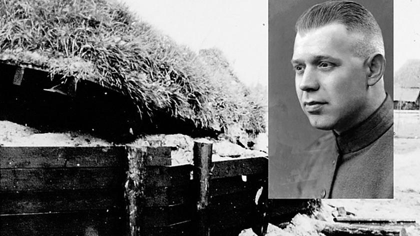 Sergeant Anne Willem Swart en de bunker waarin hij op 10 mei 1940 hij sneuvelde  (Stichting Oud Meppel)