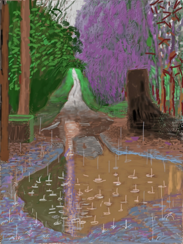 David Hockney, '18 December' uit de serie The Arrival of Spring in Woldgate, East Yorkshire in 2011 (twenty eleven), iPad-tekeningen gedrukt op papier, 118,1 x 88,9 cm, Van Gogh Museum (t/m 26 mei 2019)   (Richard Schmidt)