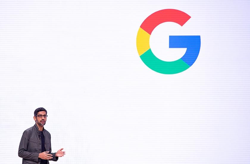 Google-CEO Sundar Pichai maakte in juni 2018 AI-principes bekend.  (afp / Josh Edelson)